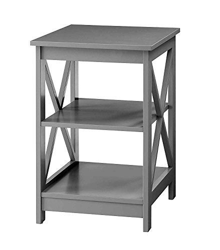 3 Tier Side Table In Grey Finish For Storage Decor Home Office Furniture Shelves Coffee End Table Wooden Square End Tables Convenience Concepts Beachcrest Home