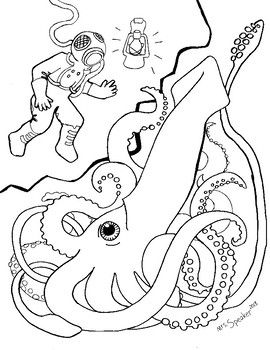 High Resolution 8 5 X 11 Pdf Coloring Page Print Scale To Fit Old Fashioned Deep Sea Diver Dropping Lamp In Coloring Pages Deep Sea Diver Scuba Diver Tattoo