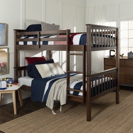 Manor Park Twin Over Twin Solid Wood Mission Design Bunk Bed Walnut Walmart Com In 2020 Bunk Bed With Trundle Bunk Beds Trundle Bed