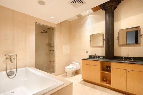 Contemporary Master Bathroom with Nickel cabinet hardware, Rectangular Landscape…