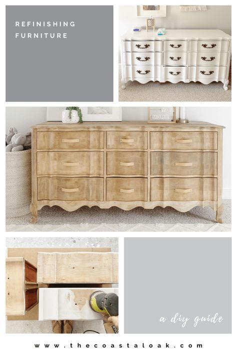 Refinishing Furniture - The Provincial Dresser - The Coastal Oak Sanding Furniture, Raw Wood Furniture, Paint Furniture, Repurposed Furniture, Furniture Projects, Refurbished Furniture, Diy Furniture Finishes, Diy Furniture Renovation, Diy Old Furniture Makeover