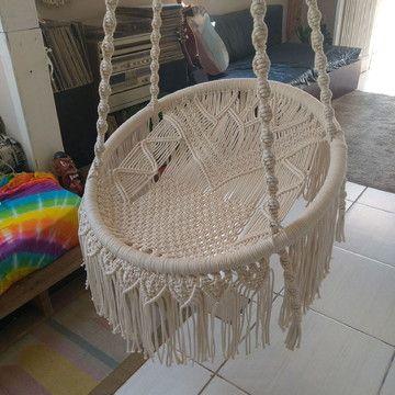 cadeira suspensa macrame