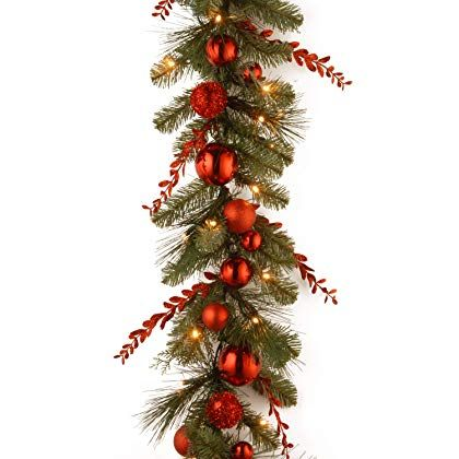 National Tree 9 Foot By 12 Inch Decorative Collection Christmas Red Mixed Garland With S Outdoor Christmas Garland Artificial Christmas Garland Pre Lit Garland