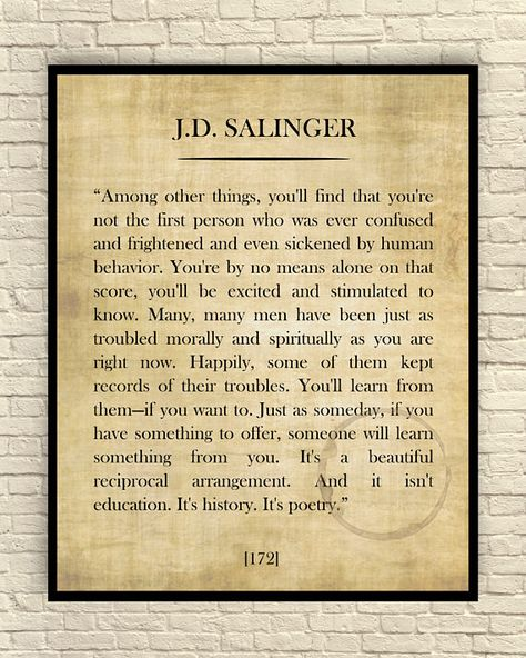 J.D. Salinger Art Print J.D. Salinger Quote Custom Art