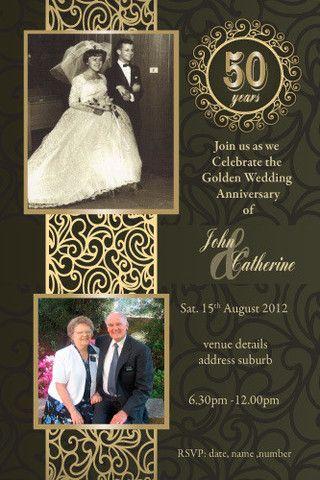 50th Wedding Anniversary Invitations - Golden Marriage 50th - anniversary invitation template