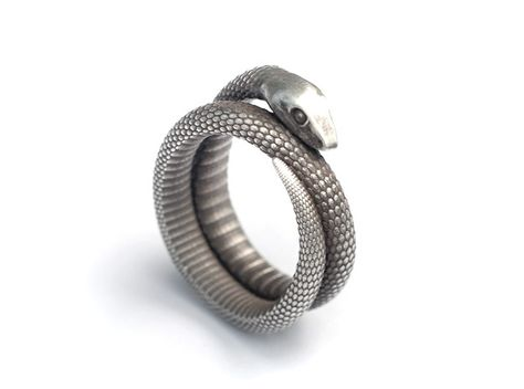 Snake Ring (various sizes) 3d printed Silver Glossy