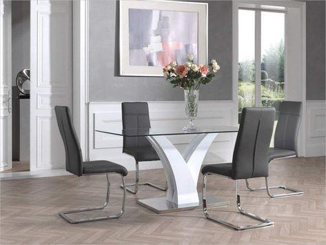 Amazon Table De Salle A Manger Moderne Blanc Laqee Verre Table