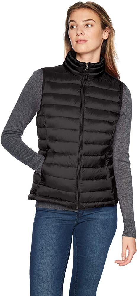 Essentials Womens Lightweight Water-Resistant Packable Puffer Vest