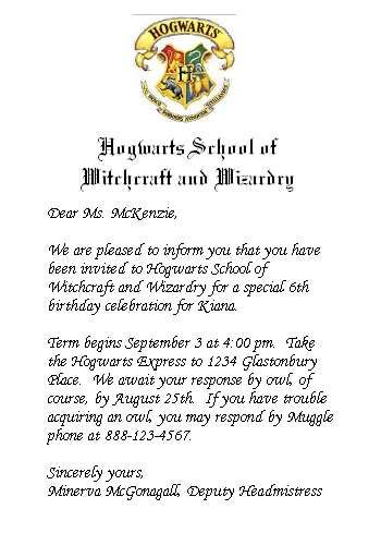 Harry Potter Birthday Party Hogwarts Style Party Invitations - birthday invitation letter sample