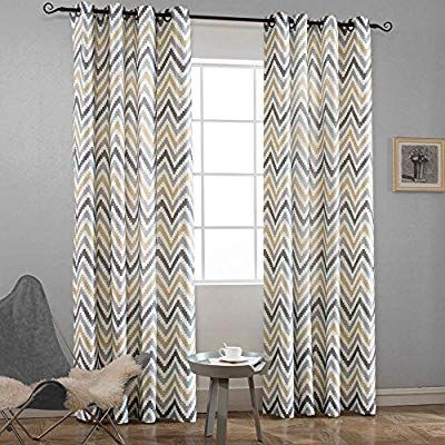 Amazon Com Melodieux Chevron Grommet Top Window Curtains For