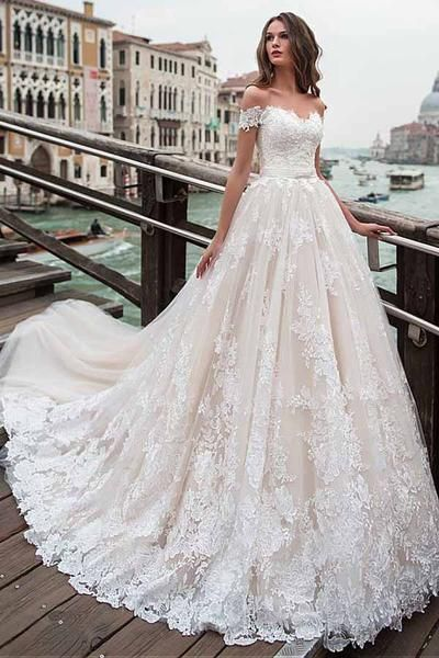 Off The Shoulder Neckline A Line Wedding Dress With Lace Appliques