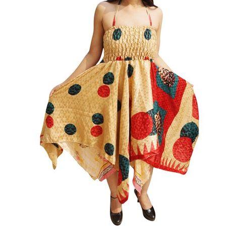 762569ebe3 Mogul Interior - Mogul Womens Halter Dress Handkerchief Hem Recycled Sari Two  Layer Vintage Summer Resort Fashion Sundress S M - Walmart.com