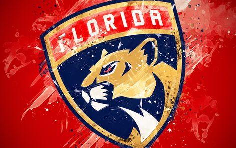 Download wallpapers Florida Panthers, 4k, grunge art, American hockey club, logo, red background, creative art, emblem, NHL, Sunrise, Florida, USA, hockey, Eastern Conference, National Hockey League, paint art