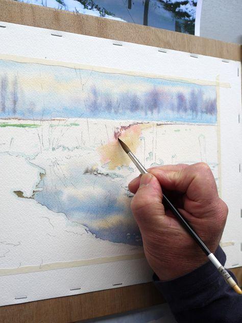 21 Aquarelle Paysage Neige Akvarelnye Hudozhniki Uroki