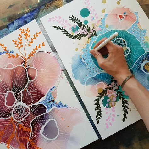 How to draw on alcohol ink — juliemariedesign - Ink Painting