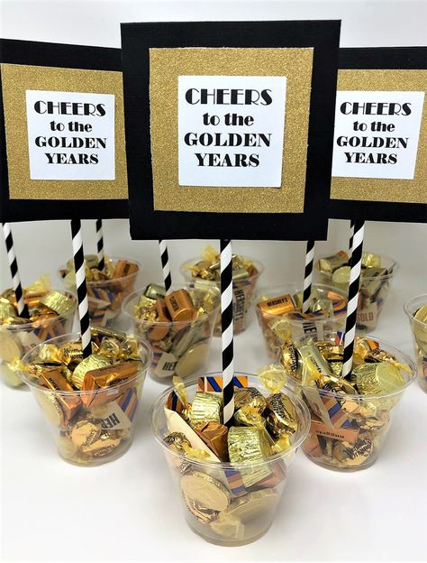 Easy Retirement Party Centerpiece {Cheers to the Golden Years Candy Cups} retirement party decor idea – cheers to the golden years -candy centerpieces – retirement ideas – easy party decorations Retirement Party Centerpieces, Retirement Decorations, Retirement Celebration, Candy Centerpieces, Easy Party Decorations, Retirement Party Decorations, Retirement Parties, Retirement Ideas, Retirement Gifts For Dad