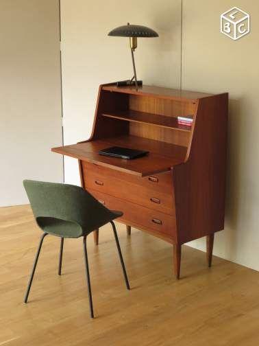 Secretaire Scandinave En Teck Bureau Vintage 50 60 Ameublement Paris Leboncoin Fr