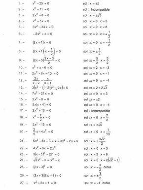 Ejercicios De Refuerzo 1 Con La Solución Que Deben De Dar Ejercicios Ecuaciones Cuadraticas Matematicas Avanzadas Matematica Ejercicios