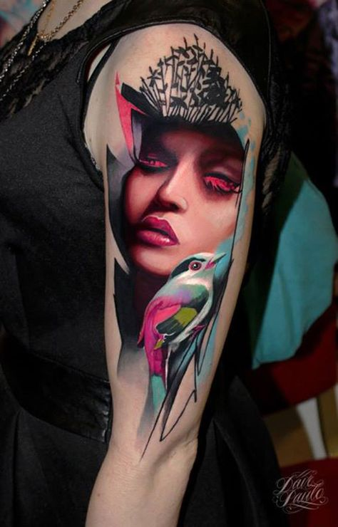 http://tattooideas247.com/abstract-portrait/ Abstract Portrait & Bird Tattoo #Abstract, #Bird, #Face, #Flowers