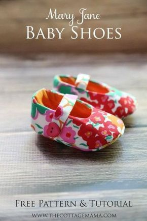 Mary Jane Baby Shoes FREE Sewing Pattern and Tutorial from The Cottage Mama. www… Mary Jane Baby Shoes FREE Sewing Pattern and Tutorial from The Cottage Mama. Sewing Patterns Free, Free Sewing, Baby Patterns, Pattern Sewing, Doll Shoe Patterns, Baby Clothes Patterns, Sweater Patterns, Pattern Fabric, Crochet Pattern