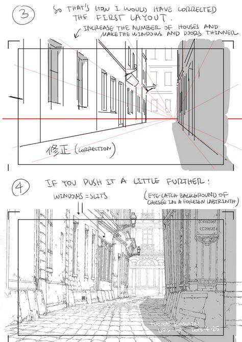 PS: pqxv tbfoa — A master post of Thomas Romain's art tutorials. Digital Painting Tutorials, Digital Art Tutorial, Art Tutorials, Perspective Drawing Lessons, Perspective Sketch, Drawing Techniques, Drawing Tips, Thomas Romain, Poses Manga