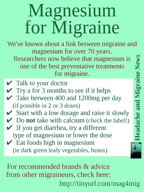 Magnesium for Migraine (graphic) hmmm... I was always told to take mag with Cal... Need to check that out!