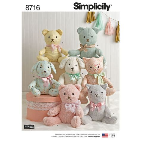 S8716 Stuffed Animals By Elaine Heigl Designs For Simplicity