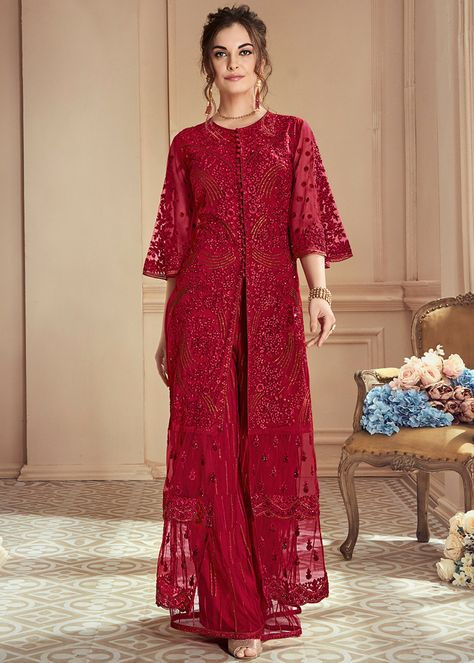 Red Embroidered Lehenga/ Palazzo Suit features a heavy net top with embroidery. Comes with heavy net + santoon bottom and japan satin inner with nazmin chiffon
