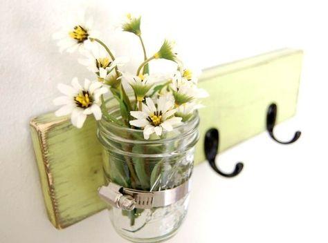 Vase WOOD Key Hooks Organizer  Spring Green by OldNewAgain on Etsy, $32.00