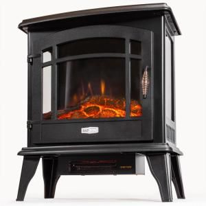 Muskoka 25 In Freestanding Infrared Curved Front Panoramic Stove With Glass Front In Black Est 425t 10 The Home Depot Portable Electric Fireplace Fireplace Heater Electric Fireplace Heater