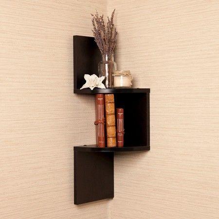 Danya B Laminated Corner Wall Shelf Black Corner Wall Shelves