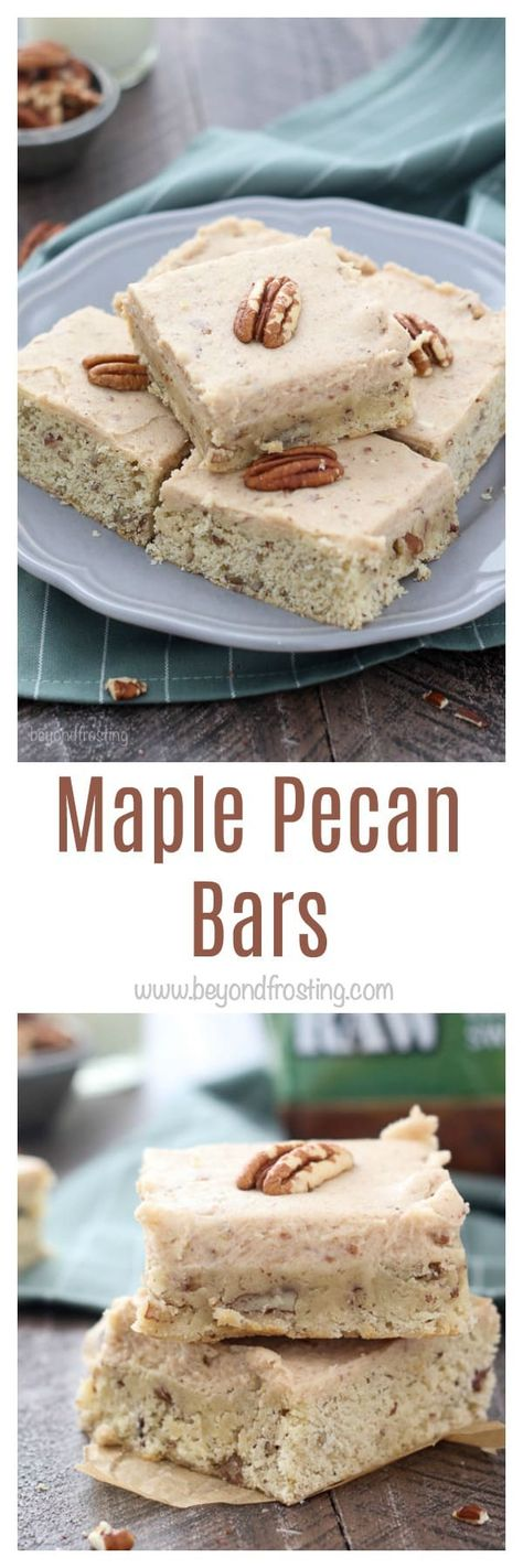 These buttery Maple Pecan Cookie Bars have a touch of maple syrup and are loaded with pecans. They're finished with a brown sugar pecan frosting.
