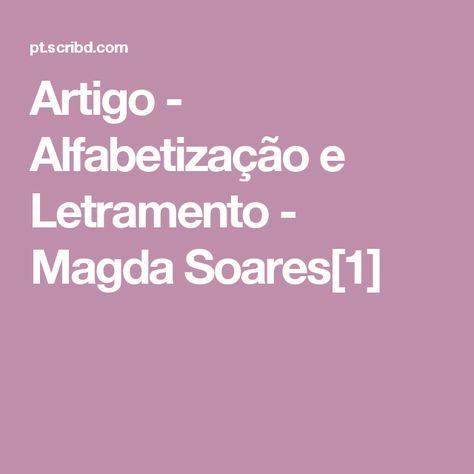 Artigo Alfabetizacao E Letramento Magda Soares 1