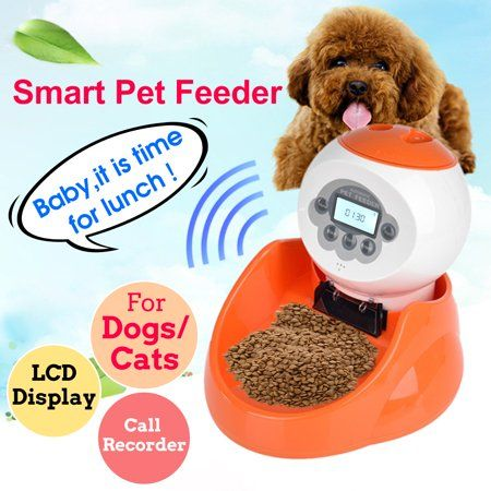 Smart Automatic Pet Dog Cat Feeder Food Bowl Programmable Voice