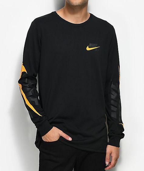 Nike Sb Tonal Futura Black Orange Long Sleeve T Shirt Google Search Orange Long Sleeve Shirt Long Sleeve Tshirt Men Mens Tshirts