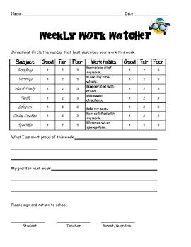 Great way for students to self-monitor themselves and set weekly goals