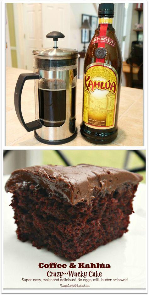 Coffee Kahlúa Crazy/Wacky Cake! (no eggs, milk, butter or bowls) Moist delicious. So simple. So good. | SweetLittleBluebird.com