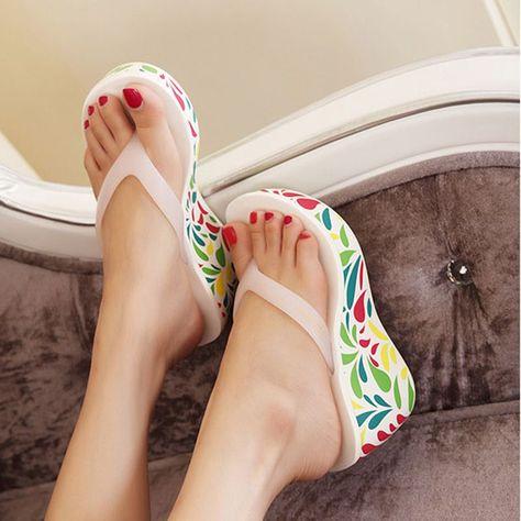 2c87c13b4a3b51 Sweet Women Summer Beach Shoes Printed Wedge Sandals Platform Flip Flops  Ladies Jelly Slippers High Heels chaussure femme  SandalsHeels