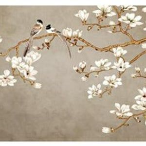 One Large Magnolia Tree Flowers Tree Wallpaper Wall Mural White Flowers With Birds Wall Murals Birds And Flowers Floral Tree Wallpaper Magnolia Wallpaper Bird Wallpaper Chinoiserie