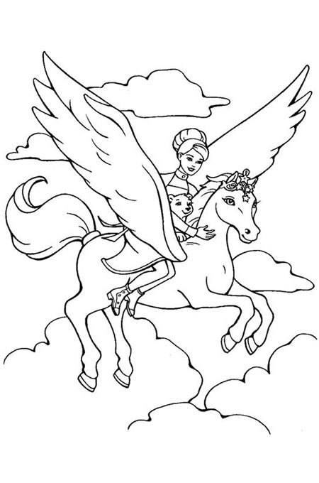 Unicorn Coloring Pages Flying With Fairy Unicorn Coloring Pages