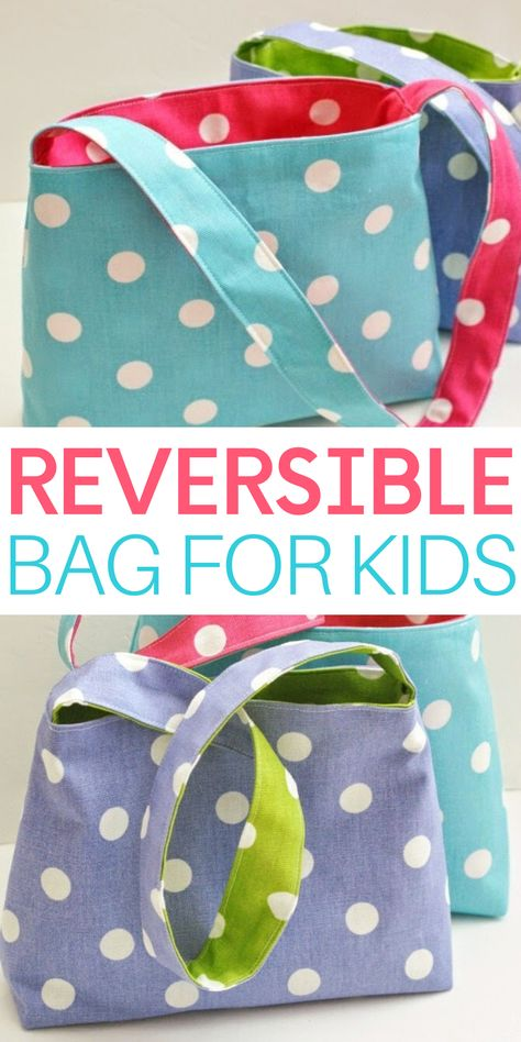 Want to know what's even better than a cute, brightly-colored bag sized just right for your little sweeties? Yep, that's right, an equally adorable bag that is REVERSIBLE! Learn how to make a reversible bag for kids with this easy tutorial. Sewing Projects For Beginners, Sewing Tutorials, Sewing Crafts, Sewing Patterns, Knitting For Beginners, Easy Knitting, Start Knitting, Kids Knitting, Sewing Tips