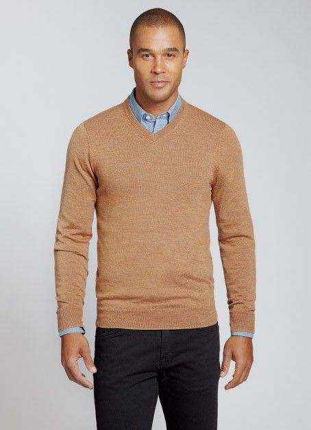Yorkshire Slim - V-Neck - Camel | It's Sweater Weather | Pinterest