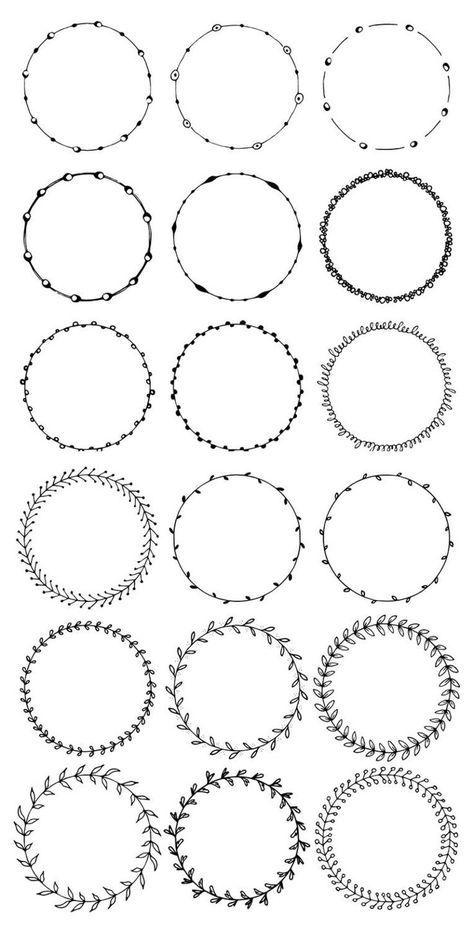 Photo of 36 hand gezeichnete Runde Zierleisten, Kreis Grenzen: Floral, Boho, Abstract Doodle; Punkte, Kreise,