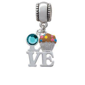 Silver Love with Chocolate Cupcake European Charm Bead Hanger with Aqua Marin...