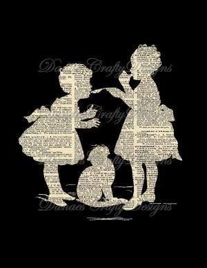 vintage children silhouette on dictionary page. <3 by SAburns