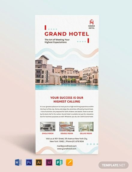Grand Hotel Rack Card Template Pdf Word Doc Psd Indesign Apple Mac Pages Illustrator Publisher Rack Card Templates Card Template Rack Card