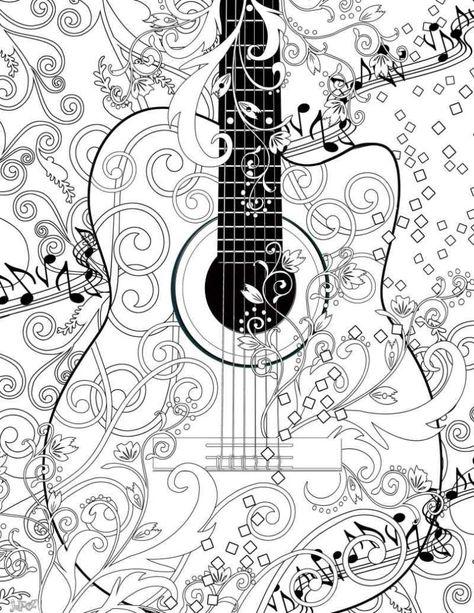 Violao Decorado Com Notas Musicais Desenhos Para Colorir Com