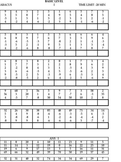 Model Paper Abacus Math Math Workbook Math Worksheets