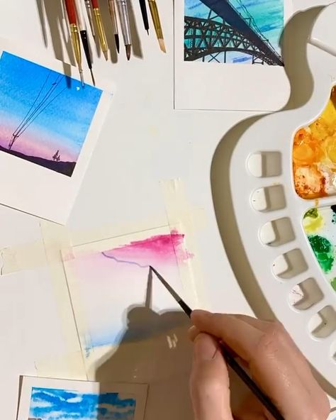 Pro tip: Using tape, you can create a clean border around your watercolor paintings.  By using tape more creatively, you can create a paintbrush polaroid, capturing a moment as one might with a camera.    Pin this to your watercolor painting ideas board for later.   Art by: @talbotdesign Made with: Arteza Watercolor Paint