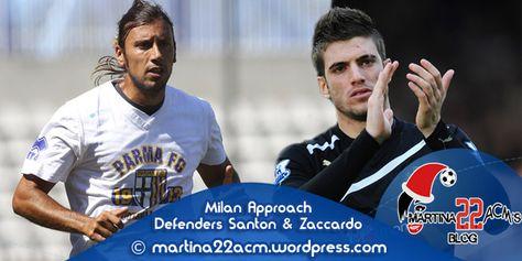 Milan Approach Defenders Davide Santon & Cristian Zaccardo